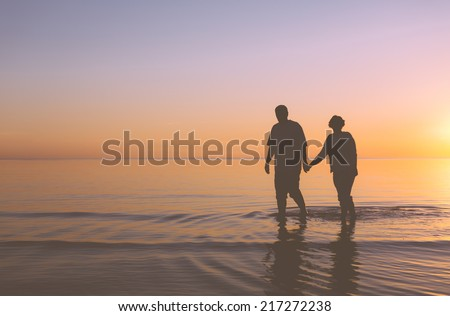 Senior couple walking holding hands at sunset - stock photo