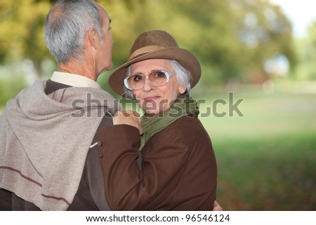senior couple walking in the park - stock photo