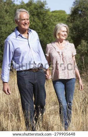 Senior Couple Walking Through Summer Countryside - stock photo