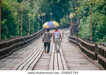 Senior couple who love each other and have fun. Holiday Together - stock photo