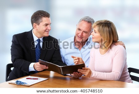 Senior couple with insurance agent. - stock photo