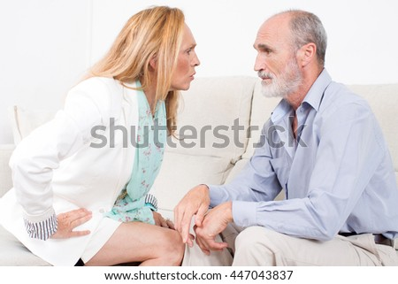 Senior couple with negative emotions