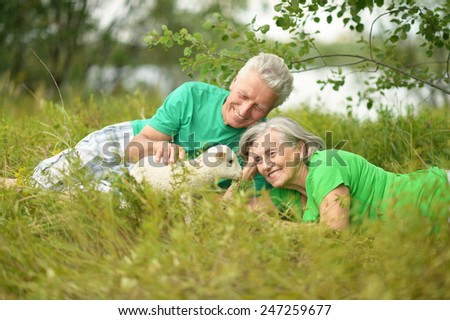 Senior Couple with toy sheep in nature