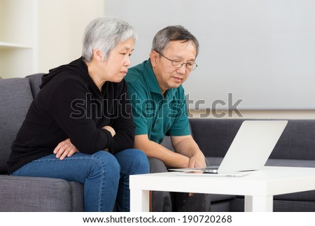 Senior couple working with laptop at home