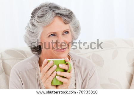 Senior drinking a cup of tea at home - stock photo