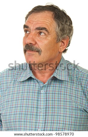 Senior executive man with mustache looking away isolated on white background - stock photo
