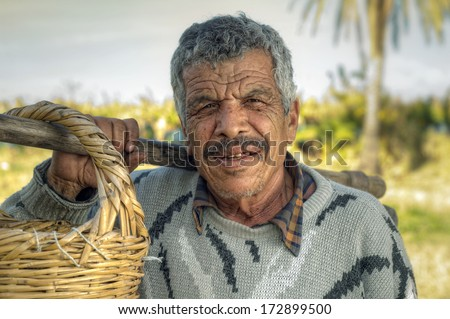 Senior farmer holding a fork and a straw basket in the fields  - stock photo