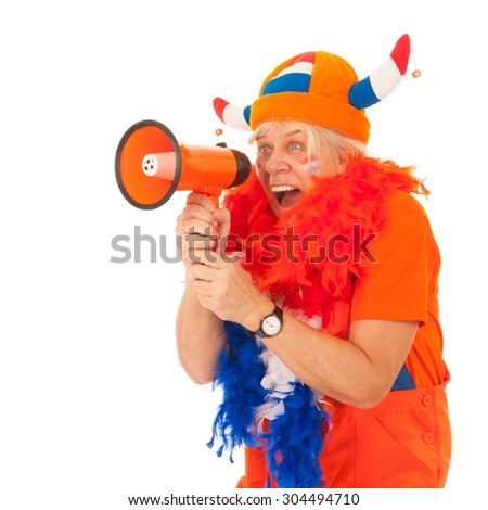 Senior female Dutch soccer supporter isolated over white background - stock photo