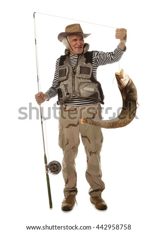 Senior fisherman with big river catfish isolated on white - stock photo