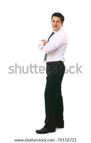 senior full length businessman isolated on white background - stock photo