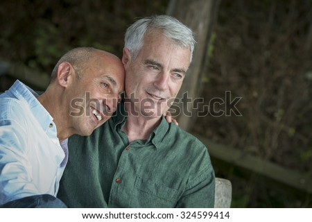 Senior Gay Male Couple Sitting on Bench Relaxing and Looking at Seashore - stock photo