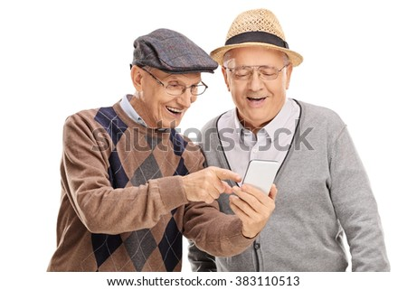 Senior gentleman showing something on his cell phone to his friend isolated on white background