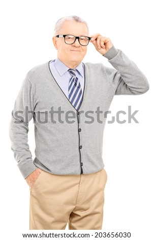 Senior gentleman trying on a new pair of glasses isolated on white background - stock photo