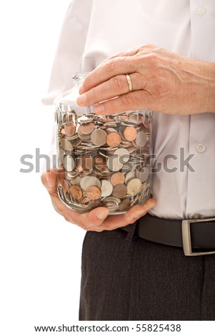 Senior hands holding jar with coins - saving for retirement concept