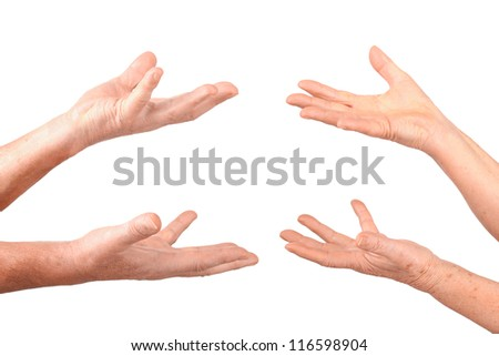 senior hands show hold on palms gesture, isolated - stock photo