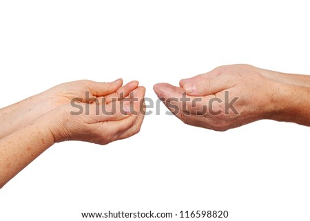 senior hands show panhandle gesture, isolated