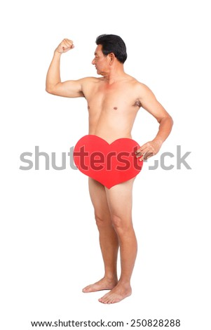 Senior handsome nude man covering himself with heart. - stock photo