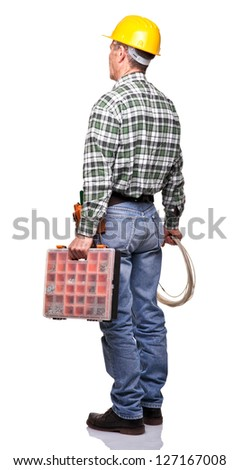 senior handyman isolated on white
