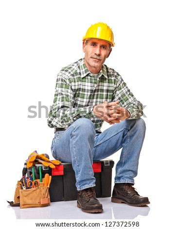 senior handyman isolated on white back view - stock photo