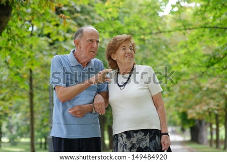 Senior happy couple walking in the park   - stock photo