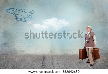 senior happy lady ready ready to realize your dream holiday, concept - travel in old age