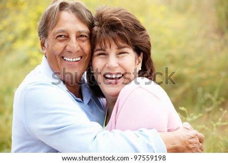 Senior Hispanic couple outdoors
