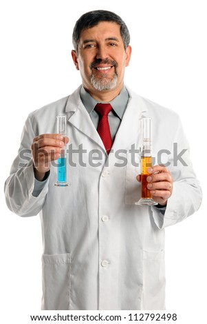 Senior Hispanic scientist holding laboratory equipment isolated over white background