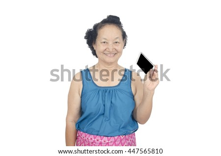 Senior holding smartphone isolated with clipping path