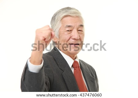senior Japanese businessman wearing a gray suit in a victory pose - stock photo