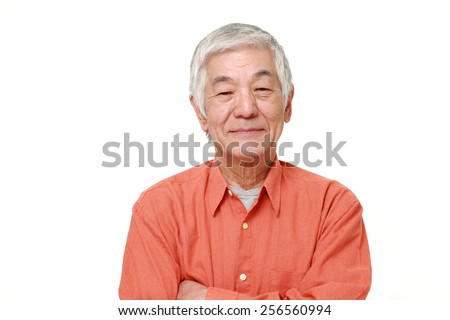 senior Japanese man in good mood