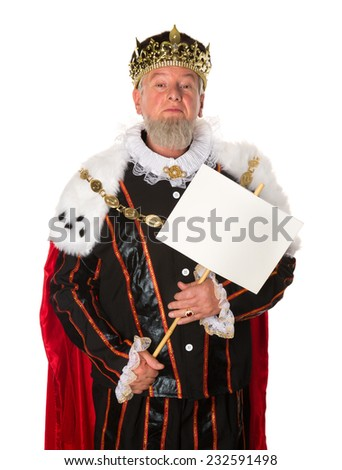 Senior king making an announcement holding a message board - stock photo