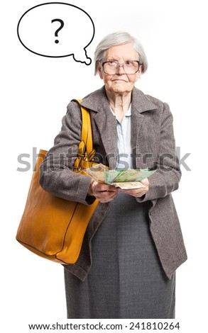 Senior lady counting money, with thought bubble over white background - stock photo
