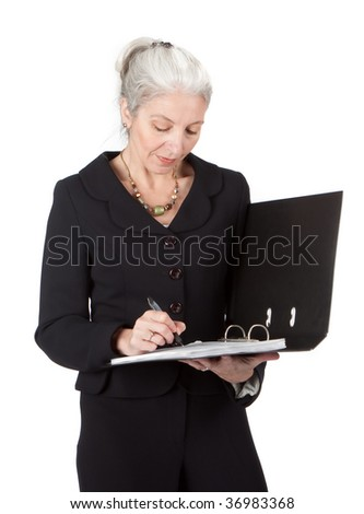 Senior lawyer writes in a document