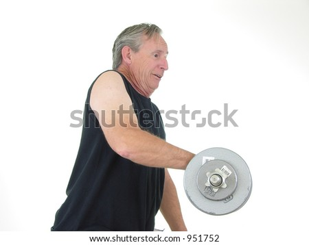 Senior Lifting weights