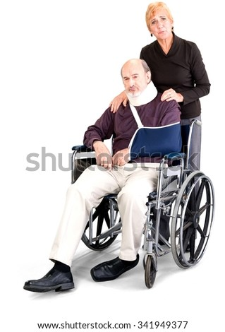 Senior Male & Female Couple with injured man in wheelchair in casual outfit - Isolated