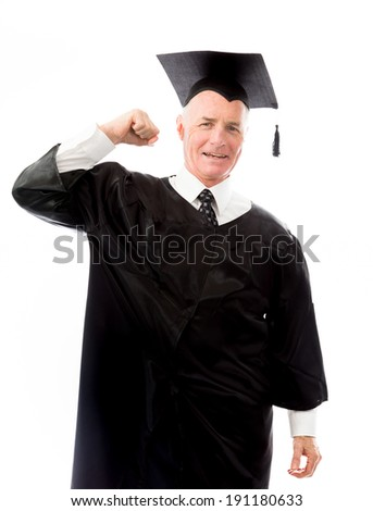 Senior male graduate celebrating his success
