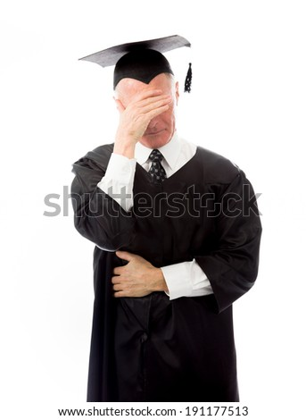 Senior male graduate disappointed
