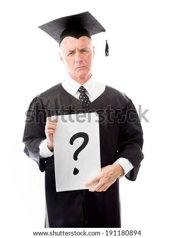 Senior male graduate question mark sign placard - stock photo