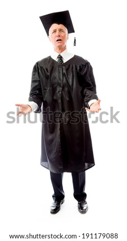 Senior male graduate questioning - stock photo