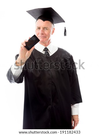 Senior male graduate showing a blank smart phone