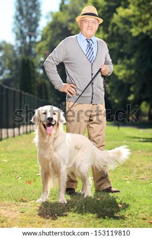 Senior man and his dog (Labrador retriever) posing in the park - stock photo