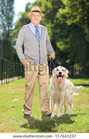 Senior man and his Labrador retriever dog posing in a park