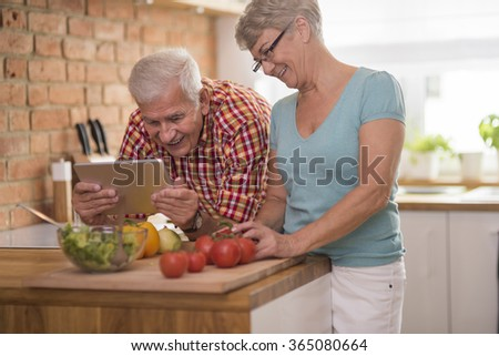 Senior man and woman spending time together - stock photo