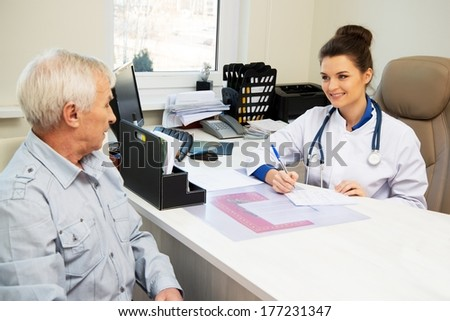 Senior man at doctors's office appointment