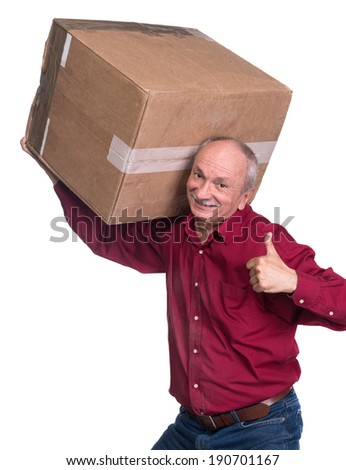 Senior man carries a heavy box on a white background