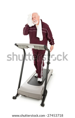 Senior man exhausted from trying to get back in shape.  Isolated on white.