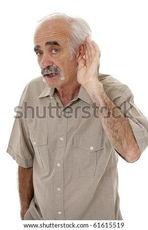 Senior man hard of hearing