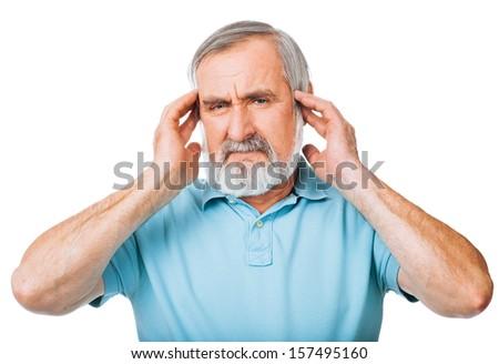 Senior man having headache isolated over white background - stock photo