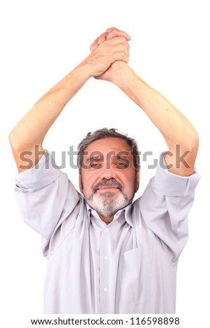 Senior man hold hands over head, isolated