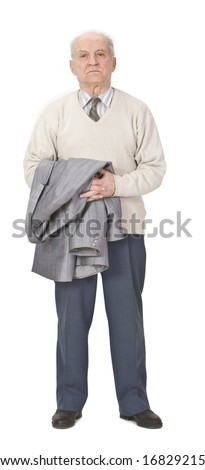 Senior man holding a coat on his arms and standing-up against a white background. - stock photo